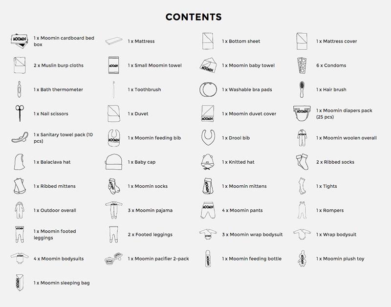 Finnish Baby Box Moomin edition contents