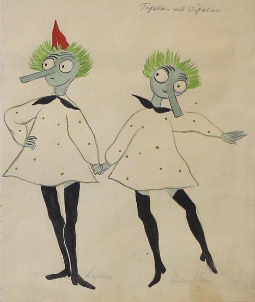 Tofslan_och_Vifslan_Tove Janssonin luonnos Tofslanin ja Vifslanin (Tiuhti ja Viuhti) pukuihin Svenska Teaternin esitykseen Momintrollet och kometen, 1949. Tove Janssonin arkisto, ©Moomin Characters™