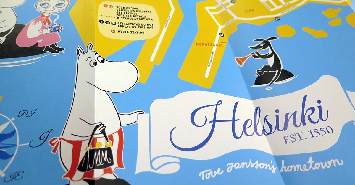 Ny Karta Over Helsingfors Med Mumintema Mumin