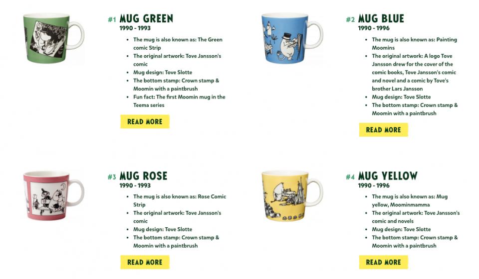 Moomin mugs by arabia