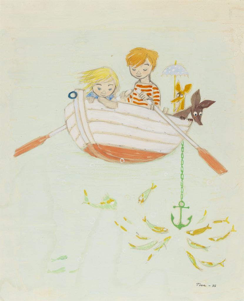 Tove Jansson - Nipsu ja lapset soutelemasssa, 1955 © Tove Janssonin kuolinpesä