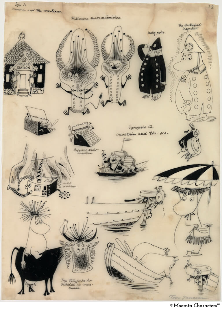 Tove Jansson Moomins and the Martians sketch1 1957_copy